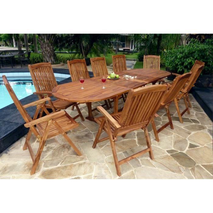 Salon de jardin avec fauteuils inclinables - 10 places ...