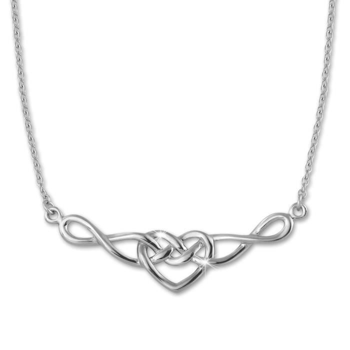 SilberDream Collier Chaine - Tribal Heart - 925 Argent Sterling 45cm SDK50045J