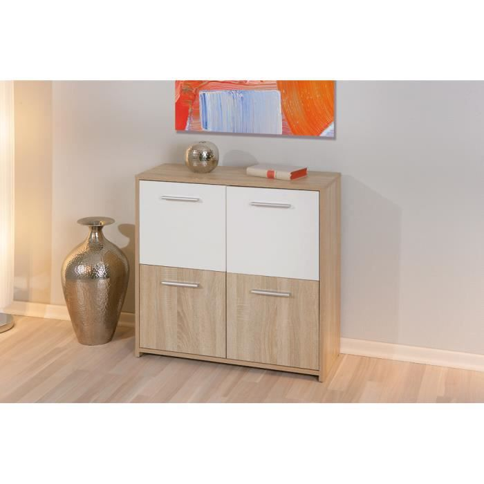 meuble de rangement 4 portes coloris sonoma ch ne et blanc achat vente petit meuble. Black Bedroom Furniture Sets. Home Design Ideas