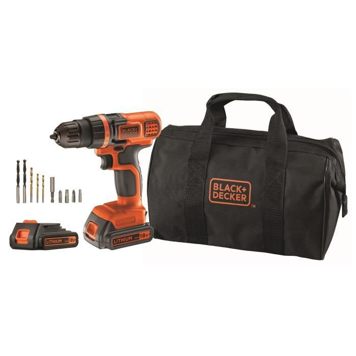 Perceuse-visseuse sans fil - BLACK + DECKER - EGBL18BA10S