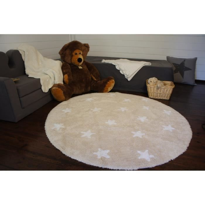 tapis rond pour enfant beige cielo lorena canals 140cm beige achat vente tapis cdiscount. Black Bedroom Furniture Sets. Home Design Ideas