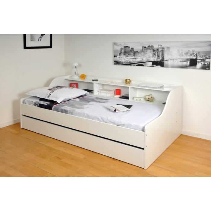 palma lit enfant contemporain m lamin blanc l 90 x l 190 cm achat vente structure de lit. Black Bedroom Furniture Sets. Home Design Ideas