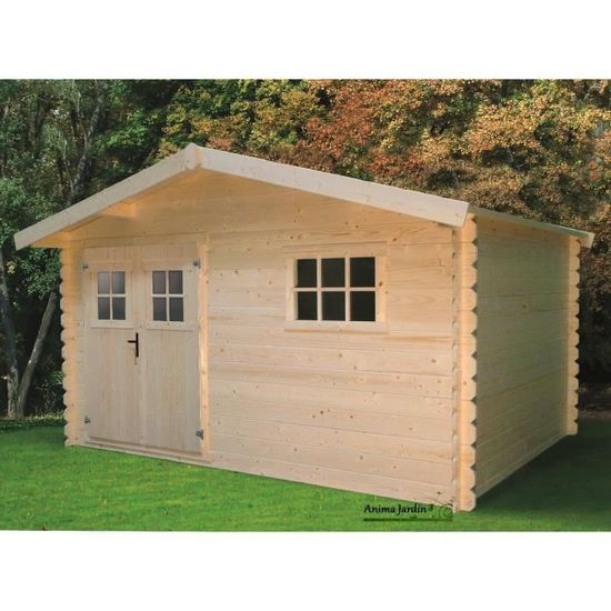 Abri de jardin en bois 28mm, 10m², avec avancée, solid, pas ...