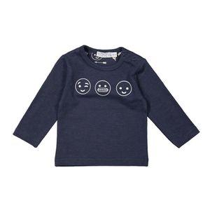 T-SHIRT DIRKJE T-shirt avec 3 Smileys Bleu Marine Bébé Gar