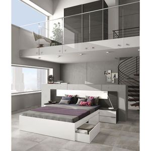 STRUCTURE DE LIT ADHARA Tête de lit 2 chevets style contemporain -
