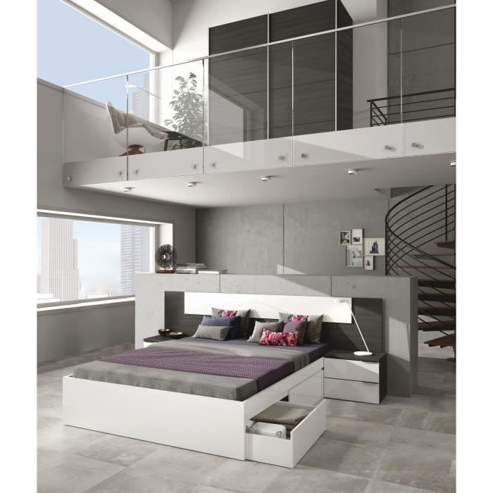 adhara t te de lit style contemporain m lamin blanc brillant et gris cendr avec 2 chevets l. Black Bedroom Furniture Sets. Home Design Ideas