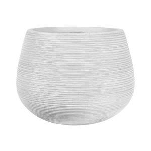 JARDINIÈRE - BAC A FLEUR Pot boule rainuré - 30 x 30 x 23 cm - Blanc cassé