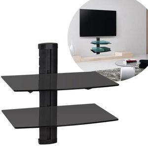 FIXATION - SUPPORT TV 2 Couche étagères de Support TV DVD en verre Noir