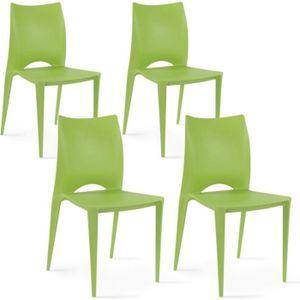FAUTEUIL JARDIN  Chaises de jardin en plastique Vert Lot de 4