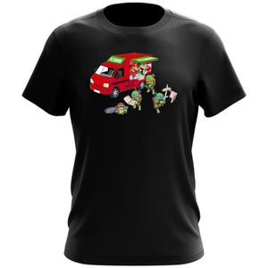 T-SHIRT T-shirt Noir Tortues Ninja - Mario Bros parodique