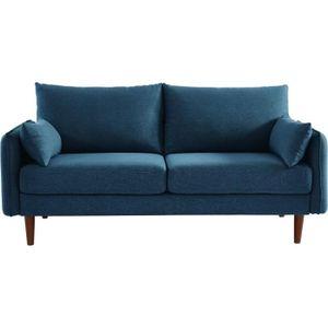CANAPÉ - SOFA - DIVAN SOLVEIG Canapé droit 2/3 places - Tissu bleu - Sty