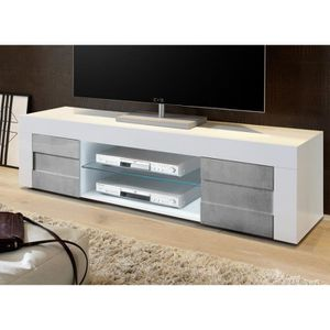 MEUBLE TV Meuble TV 2 portes 181 cm Blanc-Béton - TRANI - L
