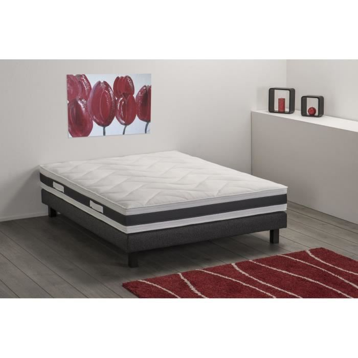 aston ensemble sommier matelas 160x200cm 2 places mousse ferme 30kg m3 achat vente. Black Bedroom Furniture Sets. Home Design Ideas