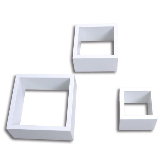 KAI Etagères Design Murale 3 Cubes blanc