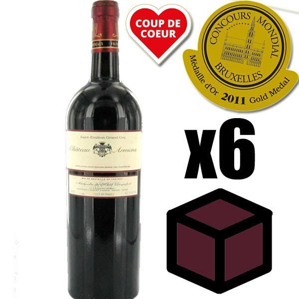 X6 Château Armens 2009 Rouge 75 cl AOC Saint-Émilion Grand Cru Vin Rouge