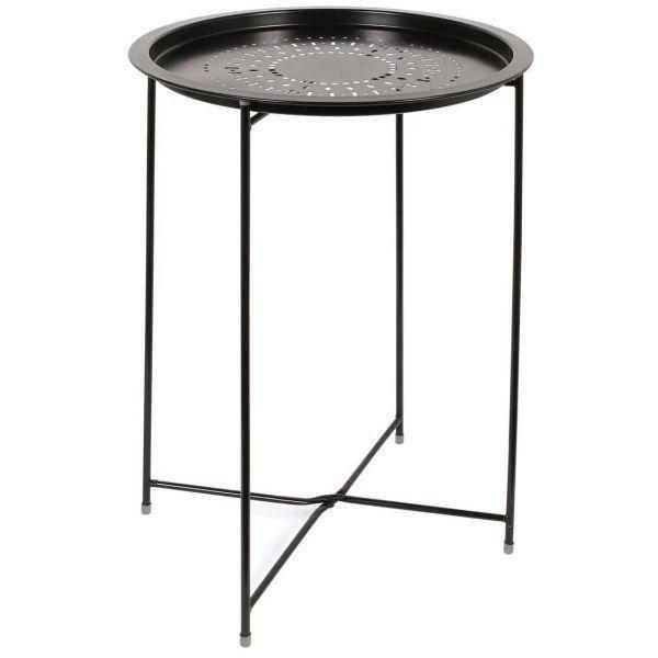 Table d'appoint en métal intérieur extérieur Noir