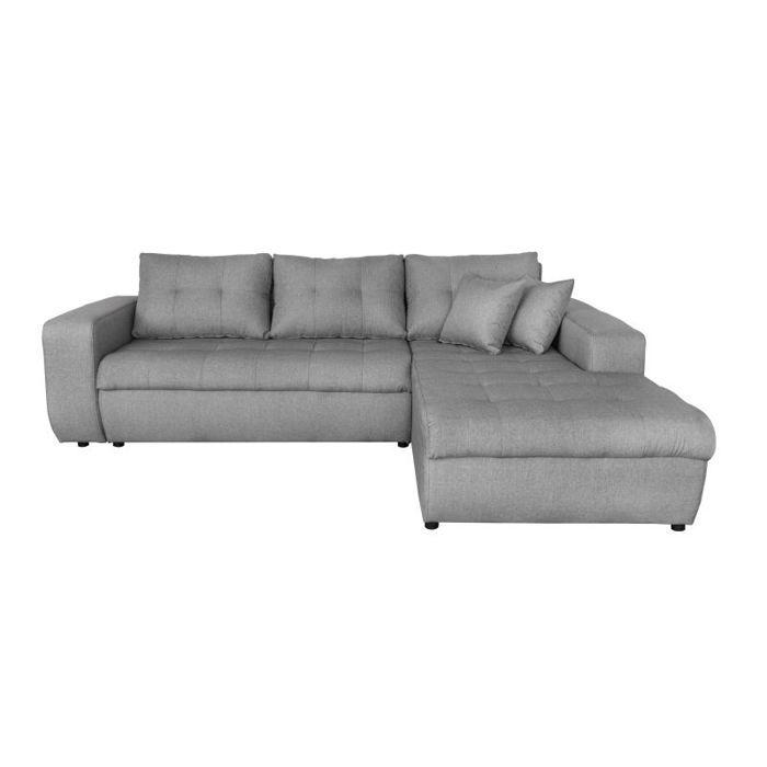 Canapé d'Angle SUZIE Convertible en Tissu Gris - Angle Droit