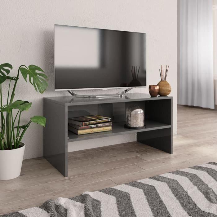 Meuble TV Gris brillant 80 x 40 x 40 cm Aggloméré