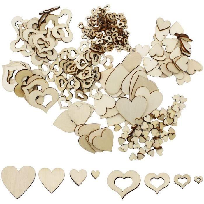 400 Pièces Naturel Coeur en Bois Embellissement Petite Décoration Coeur en Bois pour Décoration de Mariage Fête Bricolage Artisana