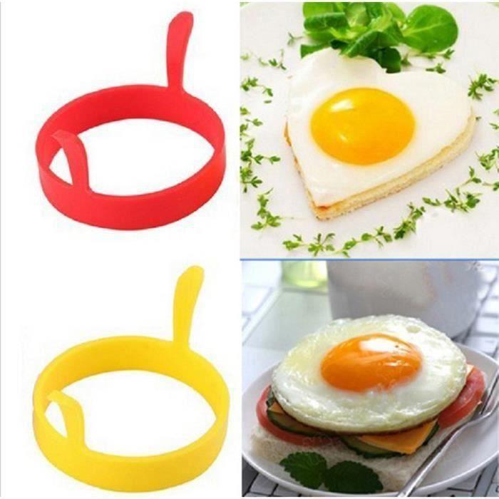 4 Pcs Silicone Rond Oeuf Anneaux Pancake Moule Anneau W Poignées Poêlées Frites Antiadhésives T0A9E9