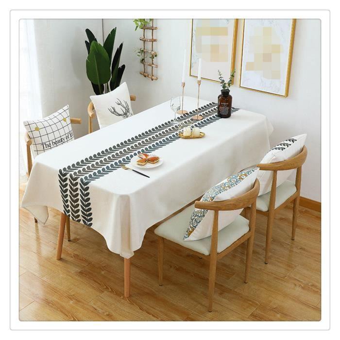 Nappe Exterieur Rectangulaire Anti Tache Nappe Lavable Tissu Nappe Picnic Design Pompon Décoration De Table,35,140x200CM