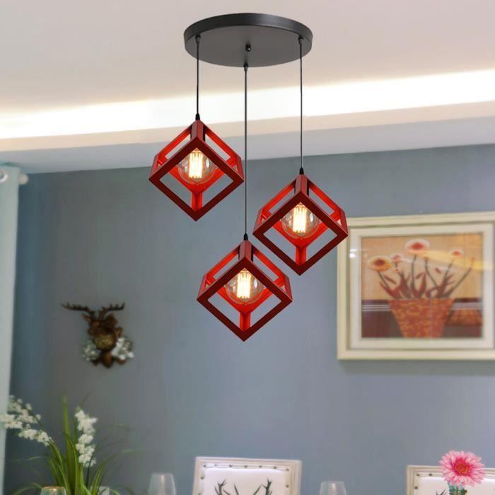 Gobel Lustre à disque industriel vintage Pied de lampe vintage carré Plafonnier orientable rouge
