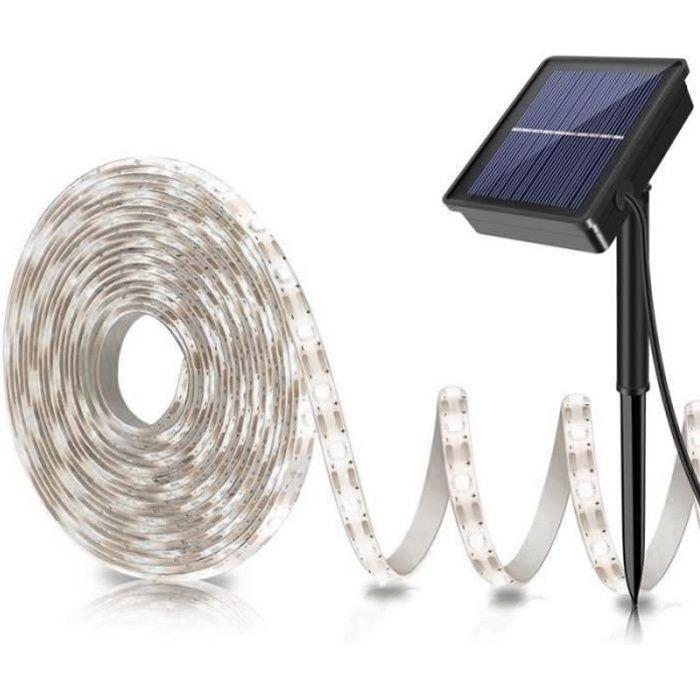 VV10042-Bande LED Solaire 5m Bande Flexible Lumière Extérieure 2835 SMD Lampe De Clôture De Jardin Imperméable Lumière Blanche
