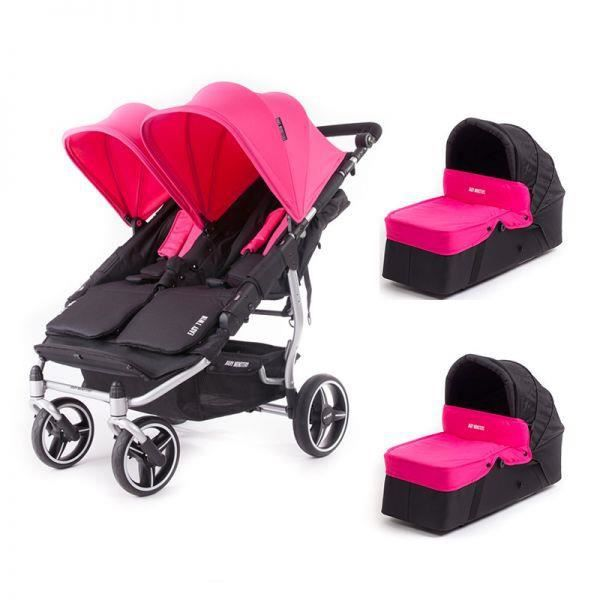 Poussette double Baby Monsters Easy Twin 3S Light + 2 nacelles Fushia - Châssis Silver
