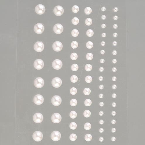 set de 72 Demi-perles blanches nacrées autocoll...