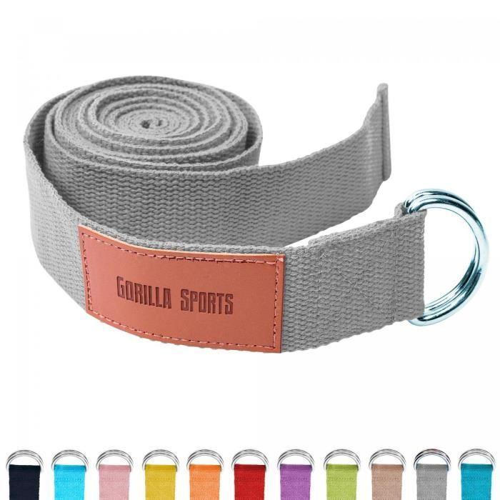Sangle de Yoga Grise - 100% coton - Sangle pour étirements - Fermetures en métal