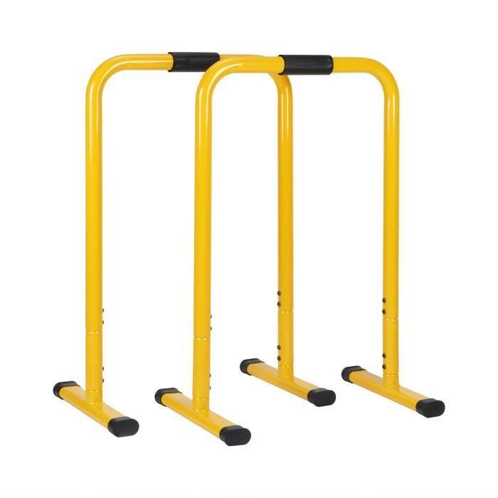Barres de Musculation Hauteur Réglable(76-90cm) Dip Equalisateur Gym Crossfit Parallettes