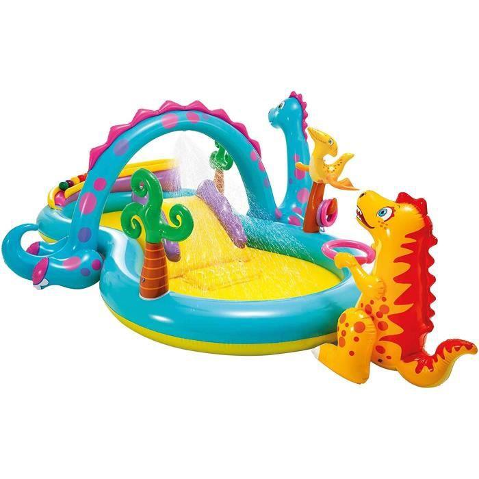 intex-57135np centre de jeu aquatique gonflable dinoland play center, modèle assorti (avec et sans volcan), multicolore, 333x229x112