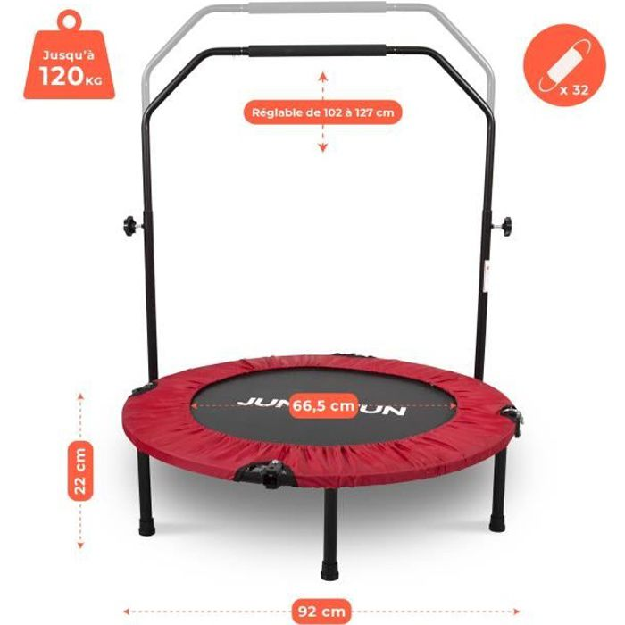 Mini Trampoline Fitness Jump4fun Pliable Double-Bar - Ø92cm, Rouge