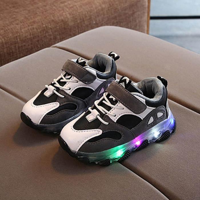 Chaussures de course en cuir lumineuses pour enfants Baskets à semelle souple pour garçons et filles Noir