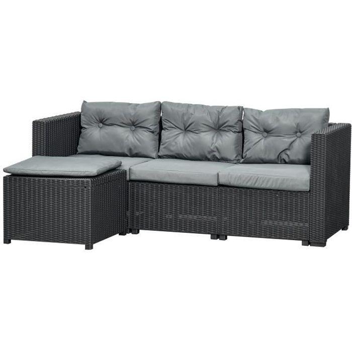 Ensemble salon de jardin 2 pièces canapé 3 places + pouf 7 coussins déhoussables inclus PP imitation rotin tressé gris