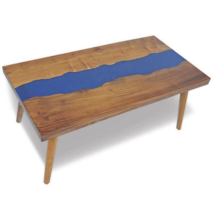 Haute qualité Magnifique Economique Table basse Teck Résine 100 x 50 x 40 cm