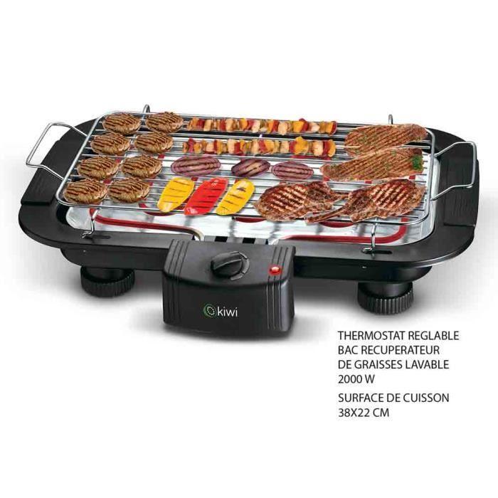 Barbecue électrique de table coloris Noir 2000 W