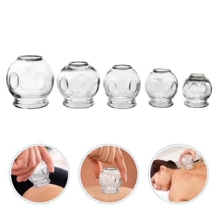 5 pièces dispositif de thérapie de ventouses en verre de massage en feu