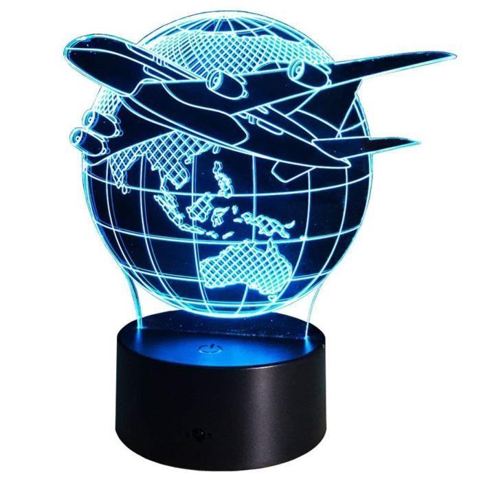 3D Navette spatiale LED Lampe Art Déco Lampe Lumières LED Décoration Lampes Touch Control 7 Couleurs Change Veilleuse USB Pow☼7156