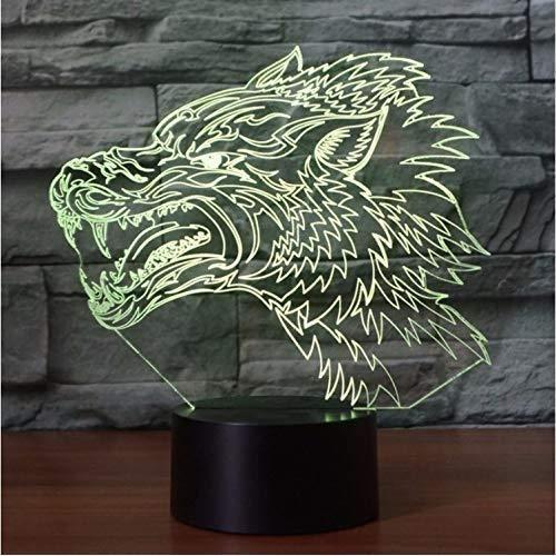 3D Optique LED Veilleuse Loup féroce 3D Night Light Illusion électrique 3d lampe LED 7 changement de couleur USB tactileSF814612