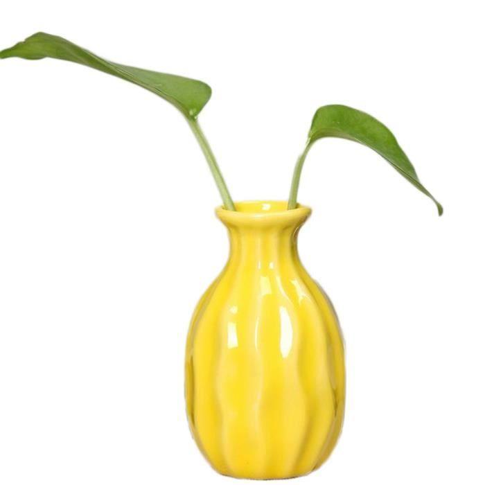 Petit Vase Céramique Jaune Style Simple Mini Vase Decoratif Vase Pour Chambre - Salon - Cuisine - Dortoir