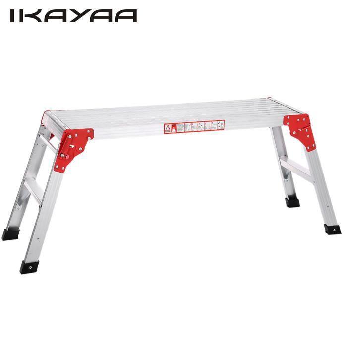 iKayaa Echafaudage Plate-forme de travail Escabeau pliable Pieds anti-dérapants Capacité charge 225LB pour jardin décoration