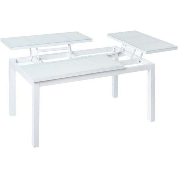 Table basse relevable d'extérieur Aluminium/Verre Blanc - ATIHEU - L 100 x l 60 x H 49