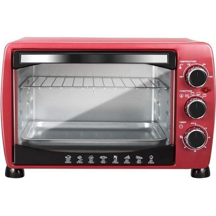 WOLTU Mini four électrique avec rôtissoire et plaque de cuisson,Four à rôtir,20 Litres, 1400 w, Rouge