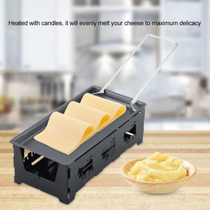 Appareil à Raclette à Bougie au Fromage Cheese Mini-poêle Antiadhésive Grille de Cuisson Chauffe Plat Avec Spatule--Rose Vie