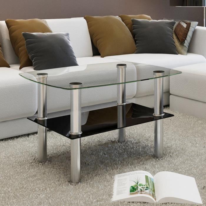 TABLE BASSE P154 Table Basse en Verre 2 Plateaux
