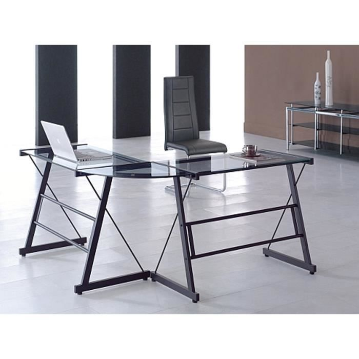 bureau angle en verre hoze home. Black Bedroom Furniture Sets. Home Design Ideas