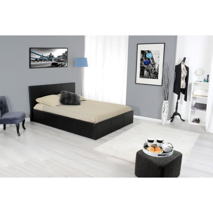 lit coffre en 180 simili cuir noir nairobi achat vente. Black Bedroom Furniture Sets. Home Design Ideas