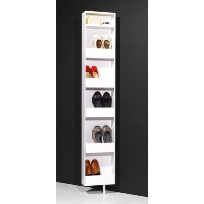 armoire meuble chaussures tournante polyvalente blanc 10 paires dimensions 29 x 186 x 18. Black Bedroom Furniture Sets. Home Design Ideas