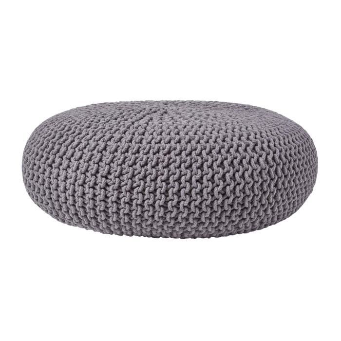 pouf en tricot rond gris fonc tr s grand achat vente pouf poire cdiscount. Black Bedroom Furniture Sets. Home Design Ideas